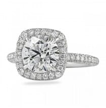 round in cushion halo 2 carat diamond