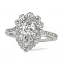 bezel set diamond halo engagement ring