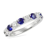 Sapphire And Diamond White Gold U-Shape Wedding Band