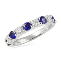 ALTERNATING SAPPHIRE AND DIAMOND WEDDING BAND