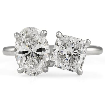 1.60 carat Oval & 1.20 carat Cushion Diamond Duo Ring white gold front view