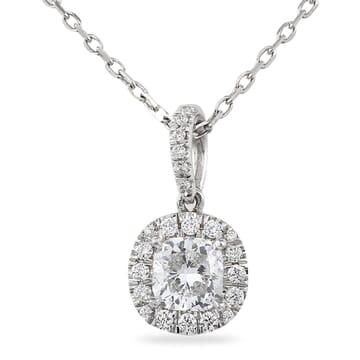 Cushion Diamond Platinum Pendant Necklace