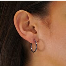 DELICATE PAVE DIAMOND AND SAPPHIRE HOOP EARRINGS WHITE GOLD