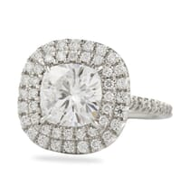 cushion cut moissanite double halo ring