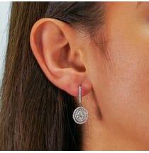 oval shaped pave drop diamond earrings