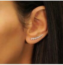 Bezel Set Diamond Crawler Earrings