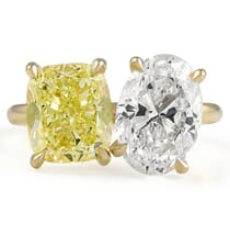 Yellow Diamond Cushion and Oval Diamond Duo Ring