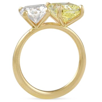 Yellow Diamond Cushion and Oval Diamond Duo Ring front view