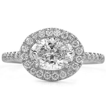 1.2 carat Oval Diamond 'East-West' Halo Design white gold