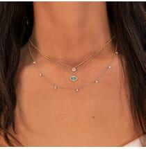 Round Diamond Dangle Necklace