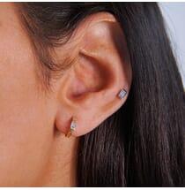 Emerald Cut Huggie Earrings