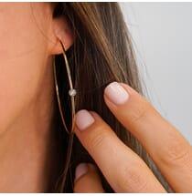 Bezel Diamond Large Hoop Earrings