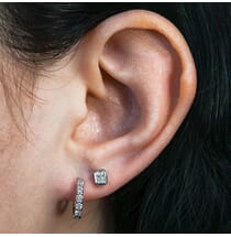 Bezel Set Radiant Cut Studs White Gold