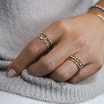 Diamond Tipped Cuff Ring