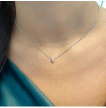 Heart Shape Diamond Solitaire Pendant close up view