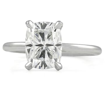 Elongated Cushion Cut Moissanite Pave Prong Engagement Ring front view