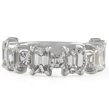 Alternating Large Asscher and Emerald Cut Diamond Band front view
