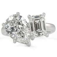 Toi et moi pear and emerald cut diamond ring