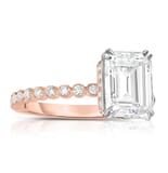 Emerald Cut Moissanite Bezel Band Two-Tone Ring