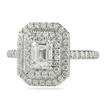 EMERALD CUT DIAMOND DOUBLE HALO ENGAGEMENT RING
