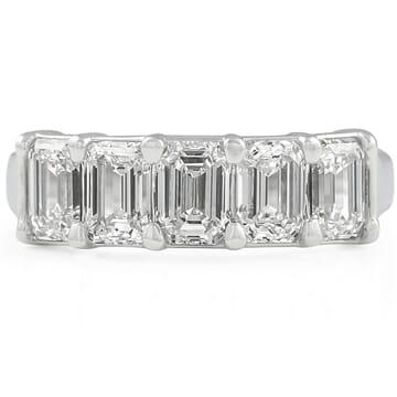 5 STONE EMERALD CUT DIAMOND BAND: GIA GRADED