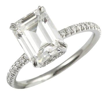 emerald cut moissanite white gold engagement ring