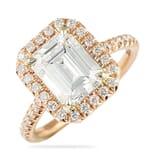 Emerald Cut Moissanite Rose Gold Halo Ring