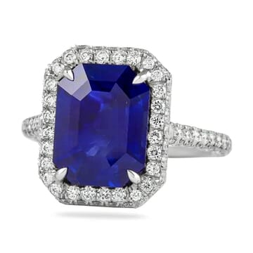 5 carat blue sapphire emerald cut halo engagement ring