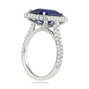 5 carat blue sapphire emerald cut halo engagement ring