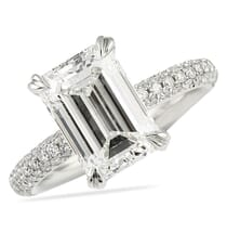 3 carat emerald cut engagement ring with three row pave band