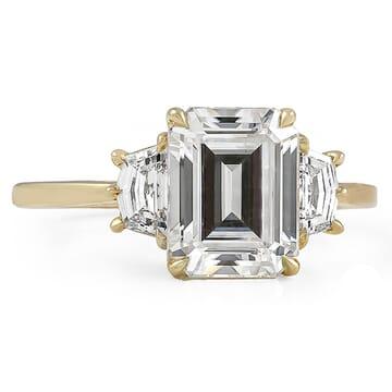 Emerald Cut Moissanite Three-Stone Engagement Ring yellow gold