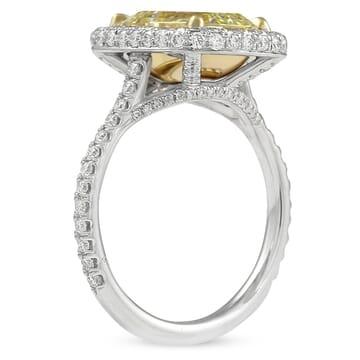 2.88 carat Yellow Emerald Cut Diamond Halo Engagement Ring
