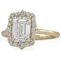 2 Carat Emerald Cut Diamond Halo Engagement Ring