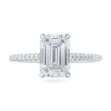 1.80ct Emerald Cut Diamond Super Slim Band Engagement Ring