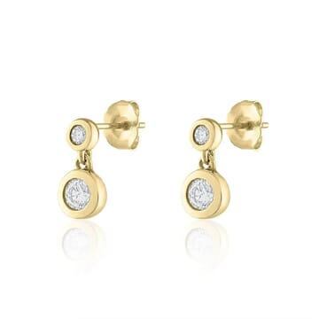 Diamond Bezel Drop Earrings
