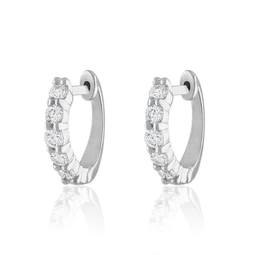 white gold Prong Set Diamond Huggies