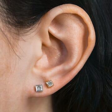 Bezel Set Princess Cut Diamond Studs