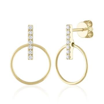 Pave Bar Diamond Drop Studs yellow gold