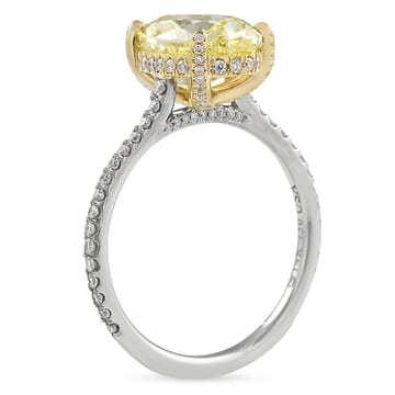 3.30 carat Oval Yellow Diamond Two-Tone Engagement Ring front view