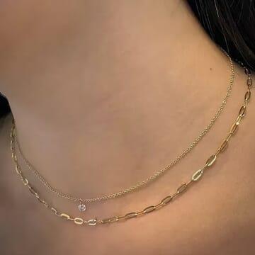 Floating Diamond Pendant Yellow 14 karat Gold