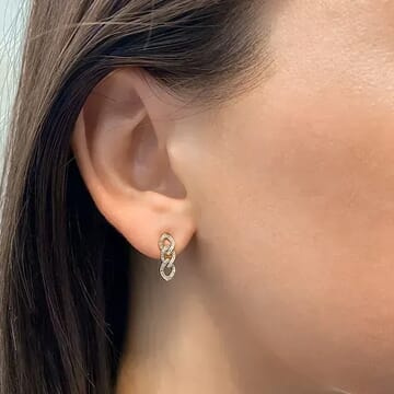 Pave Chain Link Drop Earrings yellow gold diamond