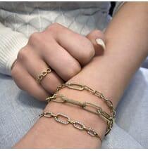Two-Tone Chain Link Bracelet yellow gold diamond