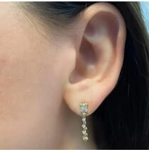 Baguette Dangling Diamond Earrings yellow gold jewelry