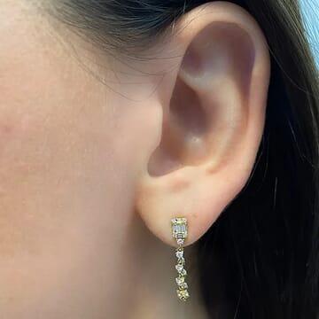 Baguette Dangling Diamond Earrings yellow gold jewelry