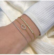 Double Pave Bar Bracelet yellow 14 karat gold