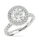 2.20 Carat Round Diamond Platinum Halo Engagement Ring