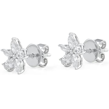 Pear and Marquise Diamond Fleurette Earrings front view