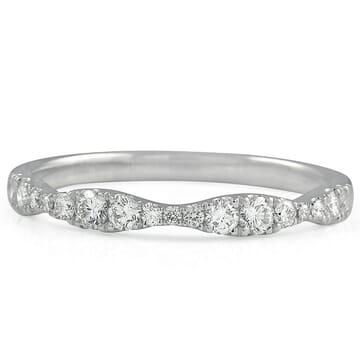 Graduating Size Round Diamond Halfway Pave Band white gold diamond pave