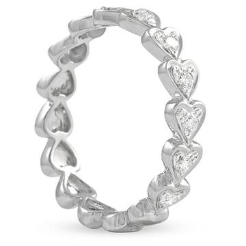 Round Diamond Heart Shape Bezel Wedding Band white gold front view