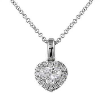 PETITE HEART DIAMOND HALO PENDANT